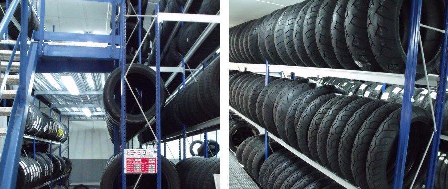 7. Scaffalatura e50 porta pneumatici, impianto con soppalco e scala di accesso (sin.)