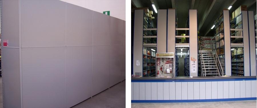 10. Armadio ad ante scorrevoli (sin.) e scaffalatura su due livelli con scala metallica e banco vendita (destra)