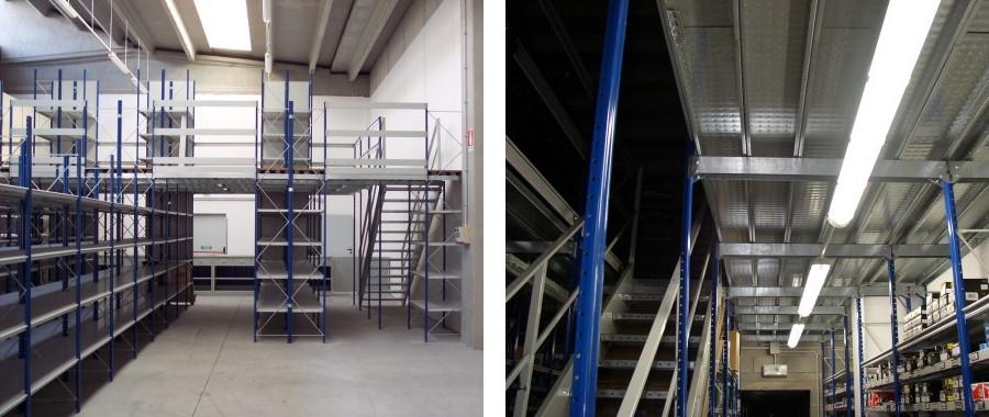 11. Impianto su due livelli realizzato con la scaffalatura E50 e scala di accesso in acciaio