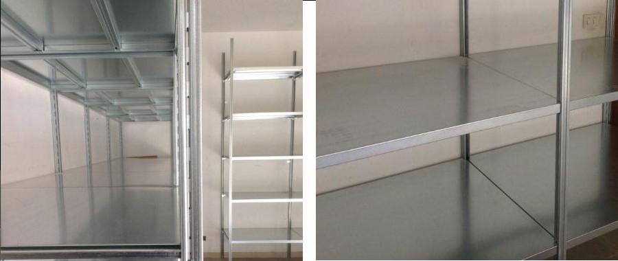 6. scaffalatura metallica: particolare fiancata e piani rinforzati