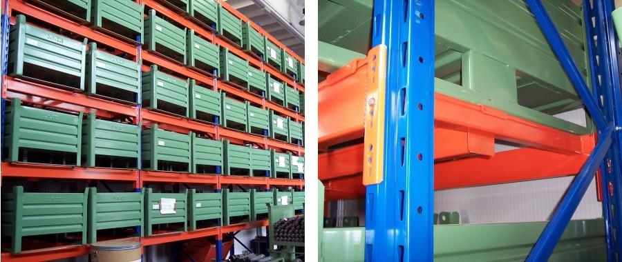 4. Scaffalatura progettata per la sistemazione di contenitori metallici e particolare del kit trave centrale (destra)
