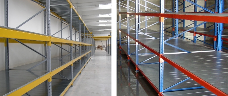 7. Scaffali industriali con pianetti zincati e travi box (sin.) e con tegolini e travi SG (destra)