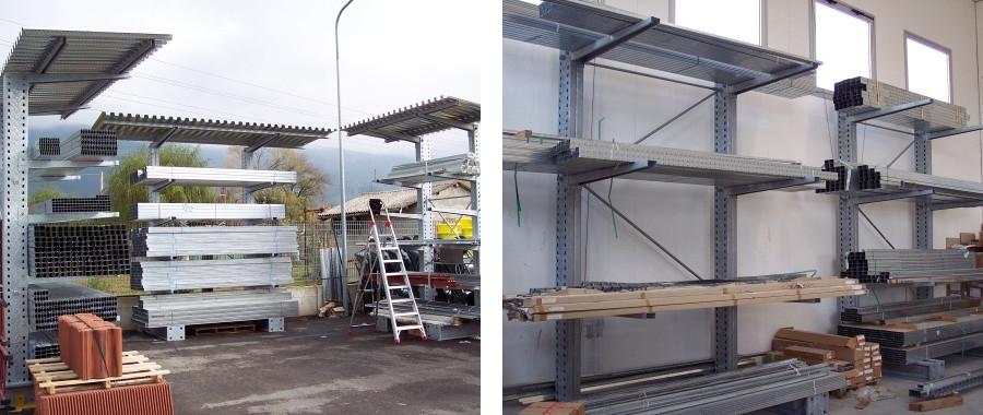 5. Cantilever monofronte con tettoia di protezione (foto sin.)