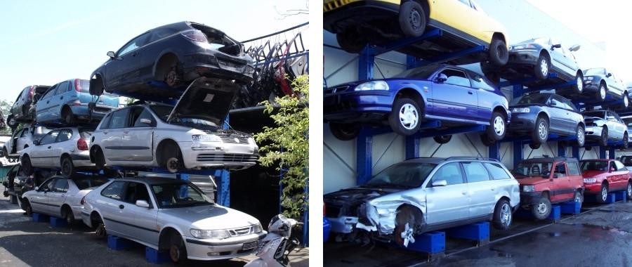 1. Scaffali cantilever porta auto monofronte modello 3M con 3 posti auto