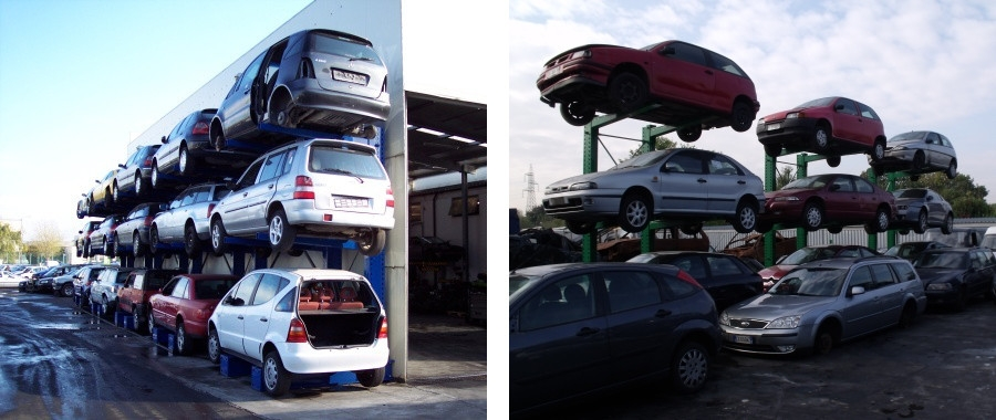 2. Scaffali cantilever porta auto monofronte modello 3ML con 3 posti auto